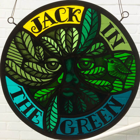 Stained Glass Green Man Roundel