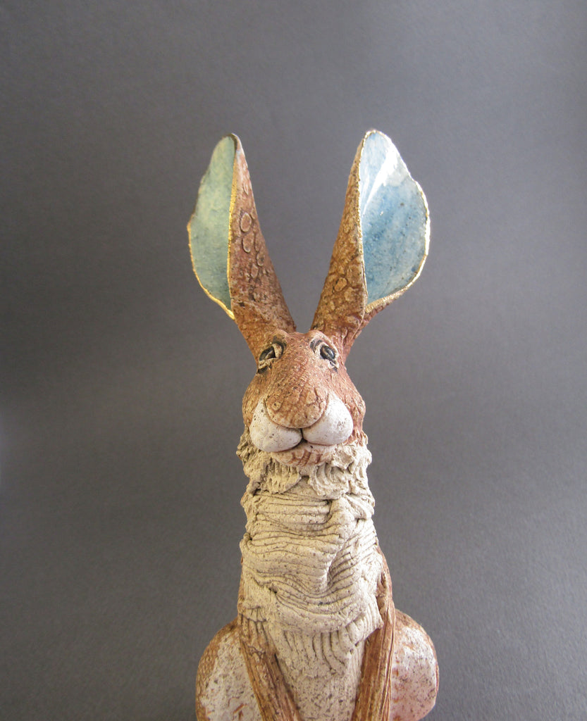 Small Sitting Brown Hare- Hand-Built Ceramic Sculpture by Gin Durham