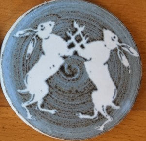 Boxing Hares Design Coaster by Neil Tregear