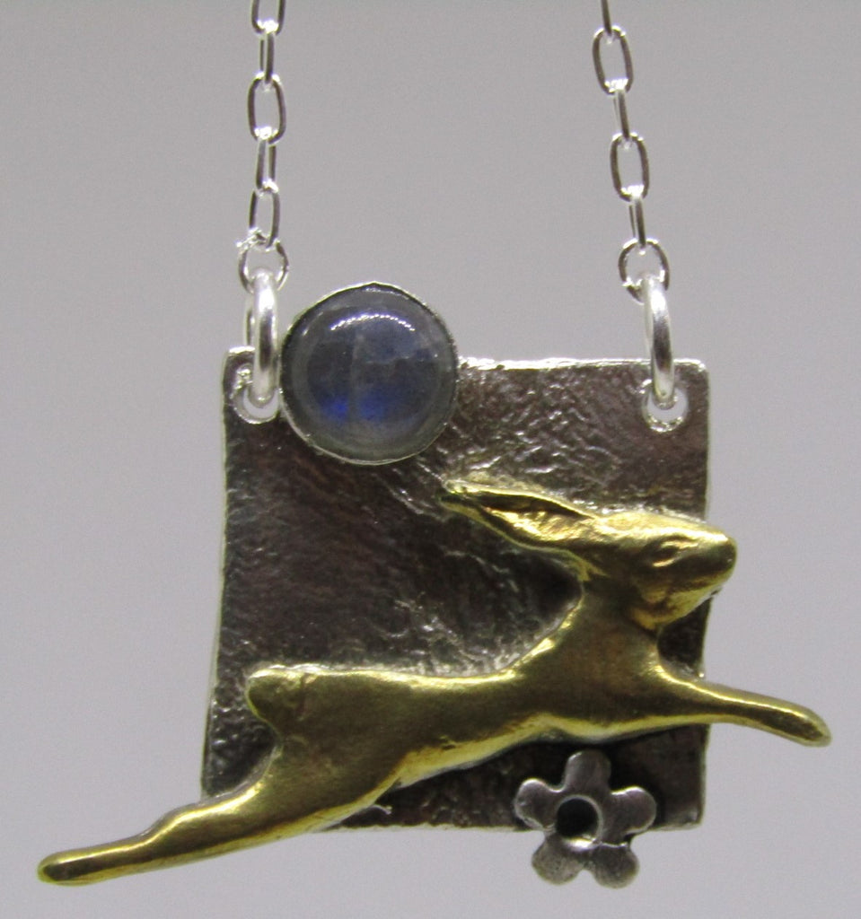 Silver Hare Square Necklace by Xuella Arnold