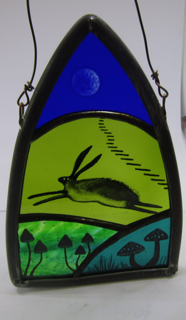 Hare and Toadstools - Glass by Debra Eden
