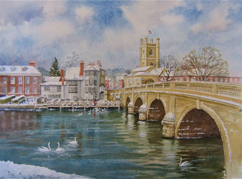'Henley-on-Thames in the Snow' - watercolour by Colin Tuffrey