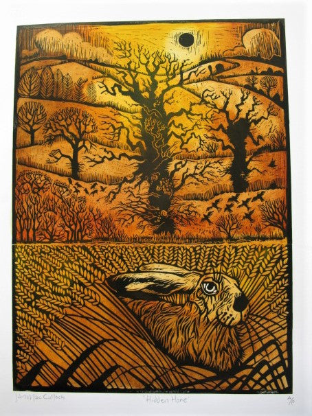 Woodcut of the Hidden Hare by Ian MacCulloch