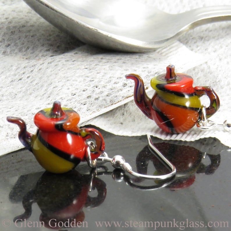 Tiny Teapot Earrings - Harlequin Stripes