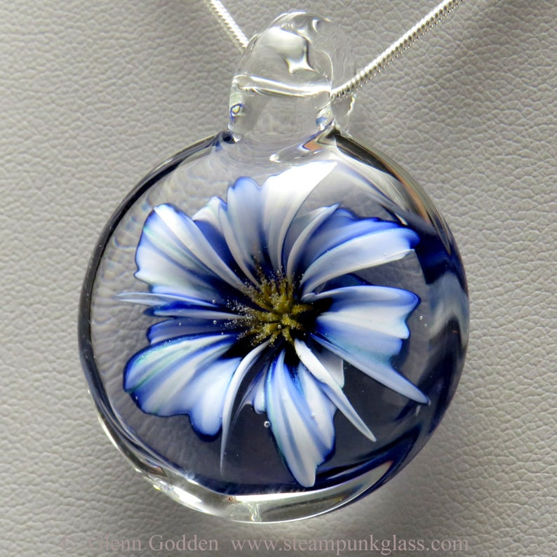 Realistic cobalt blue and white glass 3D flower pendant