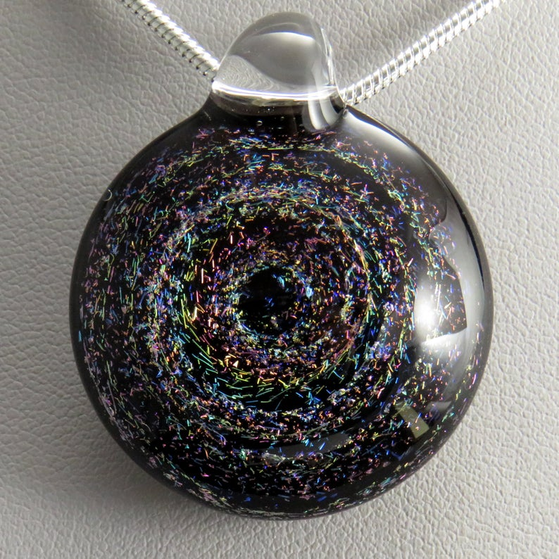 Sparkling 3D Multi-Coloured Rainbow Galaxy Pendant