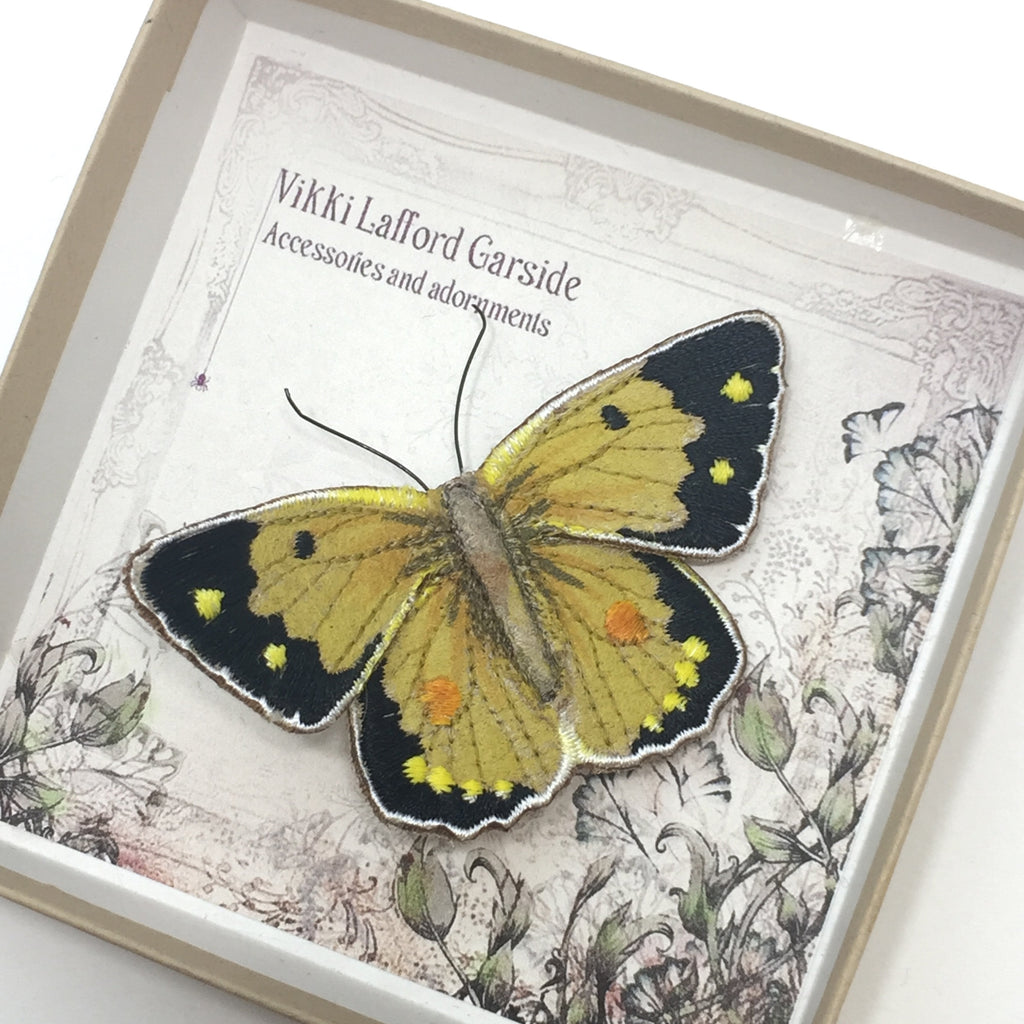 Clouded Yellow Butterfly Brooch by Vikki Lafford Garside