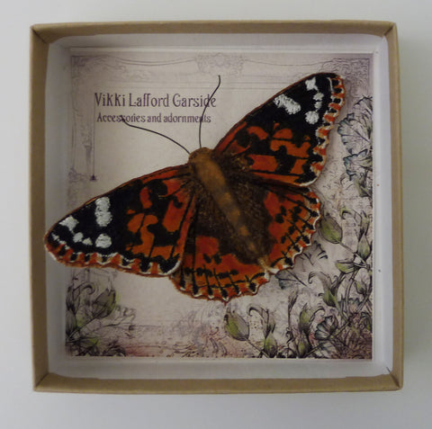 Painted Lady Brooch by Vikki Lafford Garside