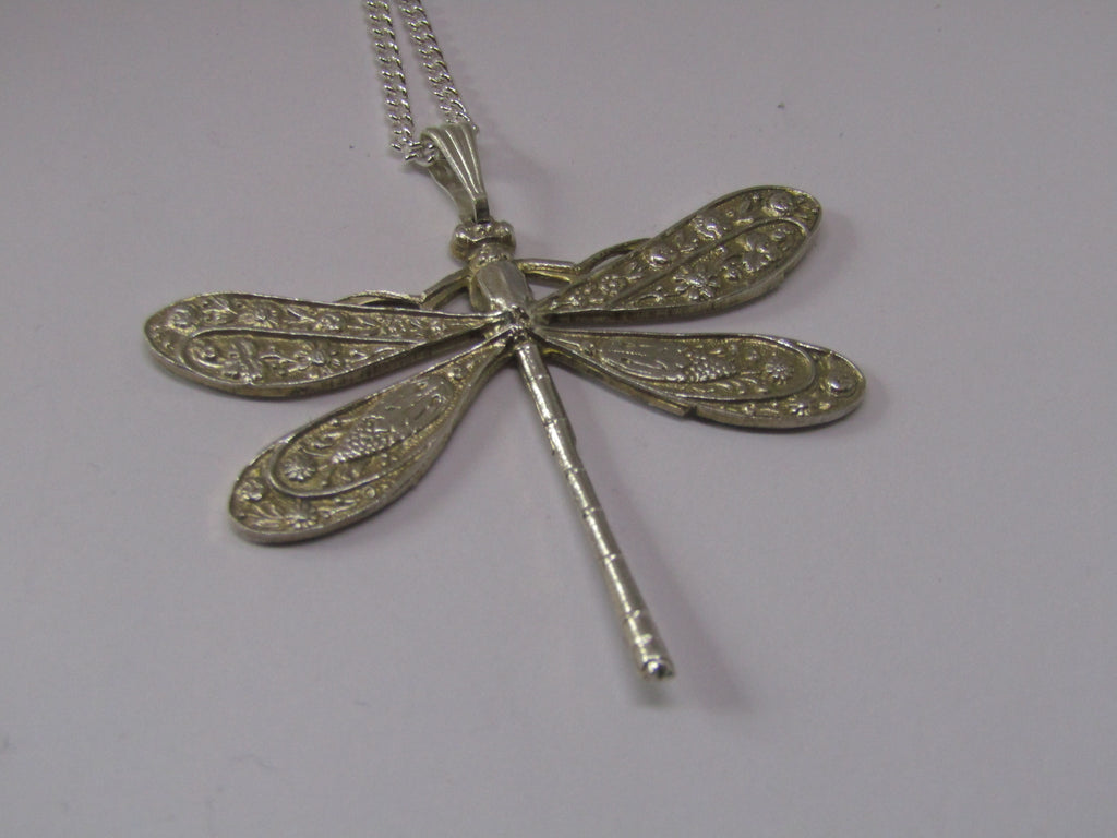 Silver Dragonfly Pendant by Jess Lelong