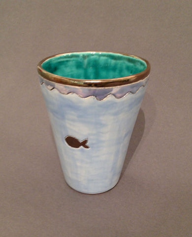Large Blue and Emerald Green Beaker with Fish by Sophie Smith