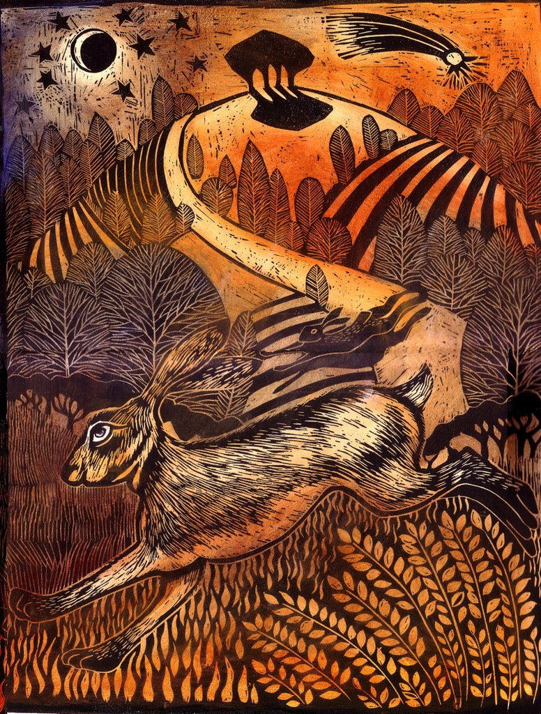 Leaping Hare - Linocut by Ian MacCulloch