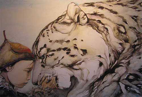 """Snow Leopard & Child"" - signed limited edition print by Jackie Morris"