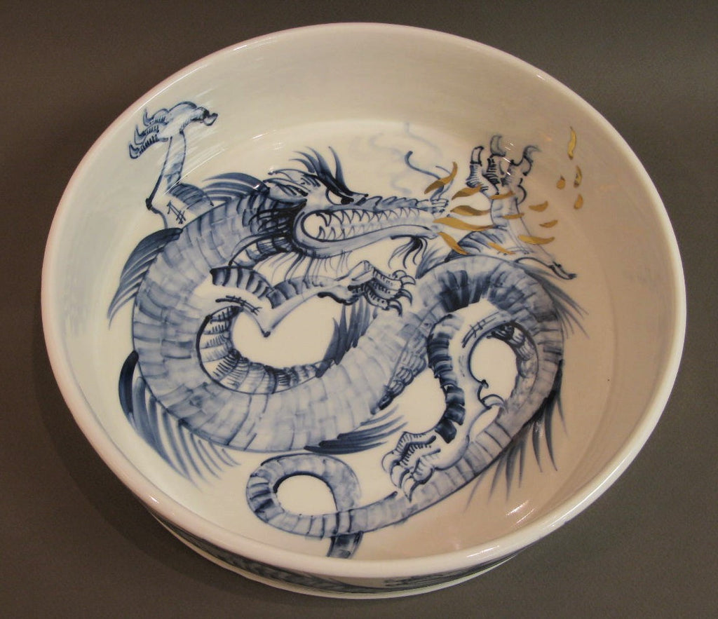 Large Dragon Bowl, Hand Painted Porcelain by Mia Sarosi