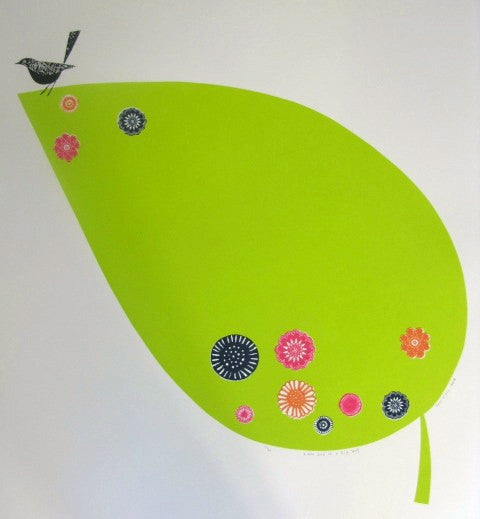 Little Bird on a Big Leaf by Jane Ormes