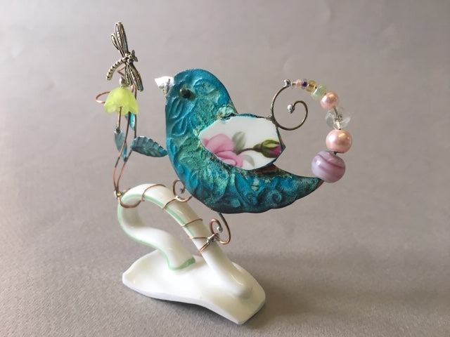Small Birdie on Cup Handle with Green Flower by Linda Lovatt