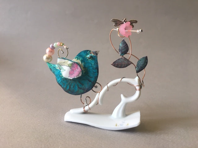Small Birdie on Cup Handle with Pink Flower by Linda Lovatt