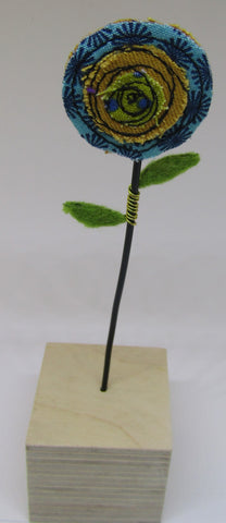 Mustard and Blue Single Poppy by Catherine Bell