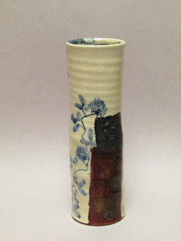 Blue and White Ceramic Cylinder by Mary Johnson. Clover Design.