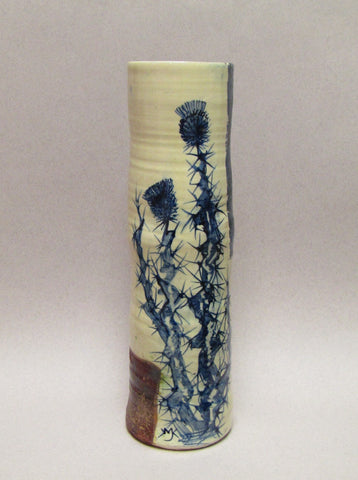 Blue and White Ceramic Cylinder by Mary Johnson. Thistle Design.