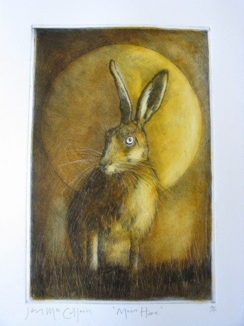 Etching print of a hare in moonlight by Ian MacCulloch