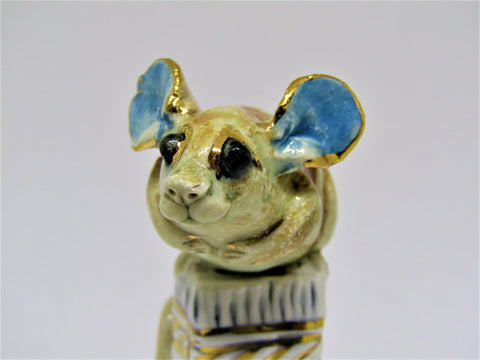 Mini Mouse on a Pedestal - Hand-Built Ceramic Sculpture by Gin Durham