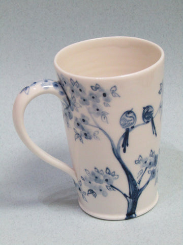 Birds in Tree design Mug, Hand-Painted Porcelain by Mia Sarosi