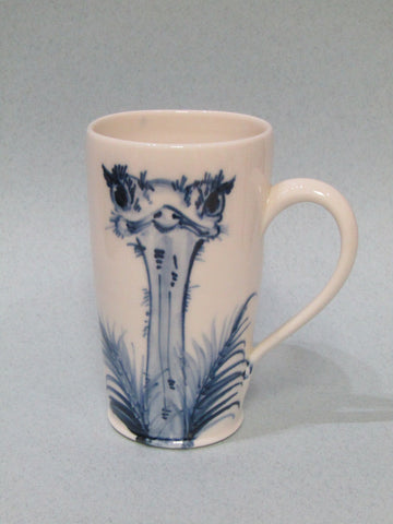 Ostrich design Mug, Hand-Painted Porcelain by Mia Sarosi