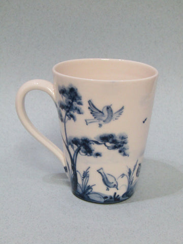 Robin and Trees design Mug, Hand-Painted Porcelain by Mia Sarosi