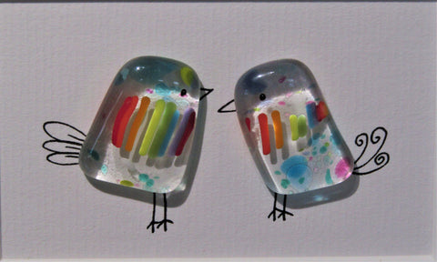 2 Birds - Fused Glass and Illustration