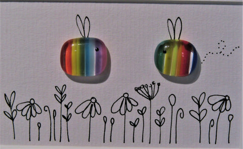 2 Rainbow Bees - Fused Glass and Illustration