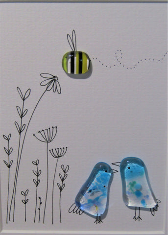 Bee & Birds - Fused Glass and Illustration