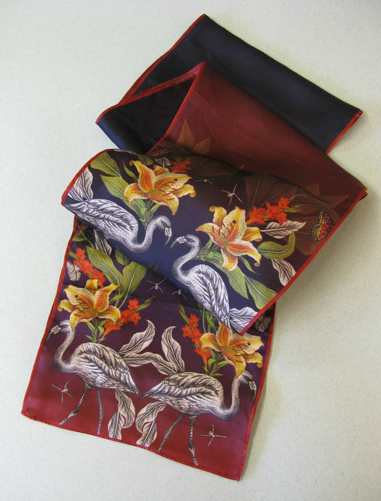 Silk scarf, hand illustrated by Niki P