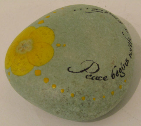 """Peace begins with a smile............"" Hand Painted Stone"
