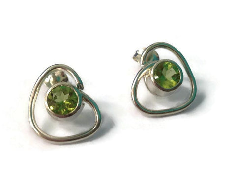 Wrapped peridot studs by Abby Filer