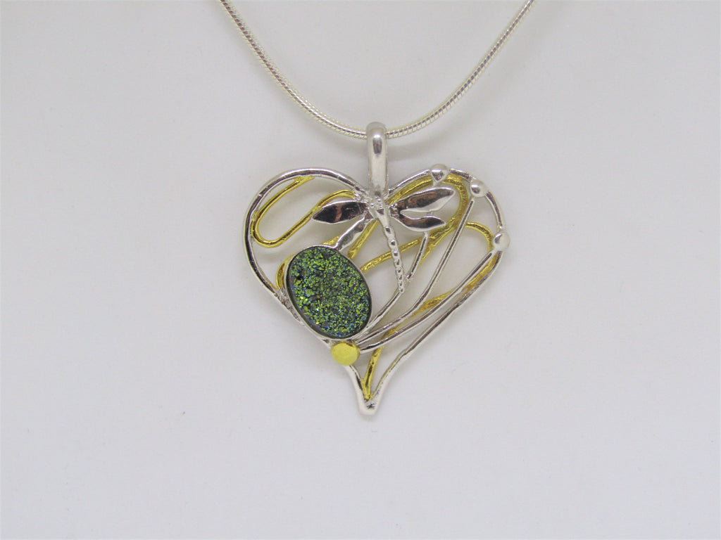 Heart Dragonfly Pendant in Sterling Silver with Green Druzy by Madeleine Blaine