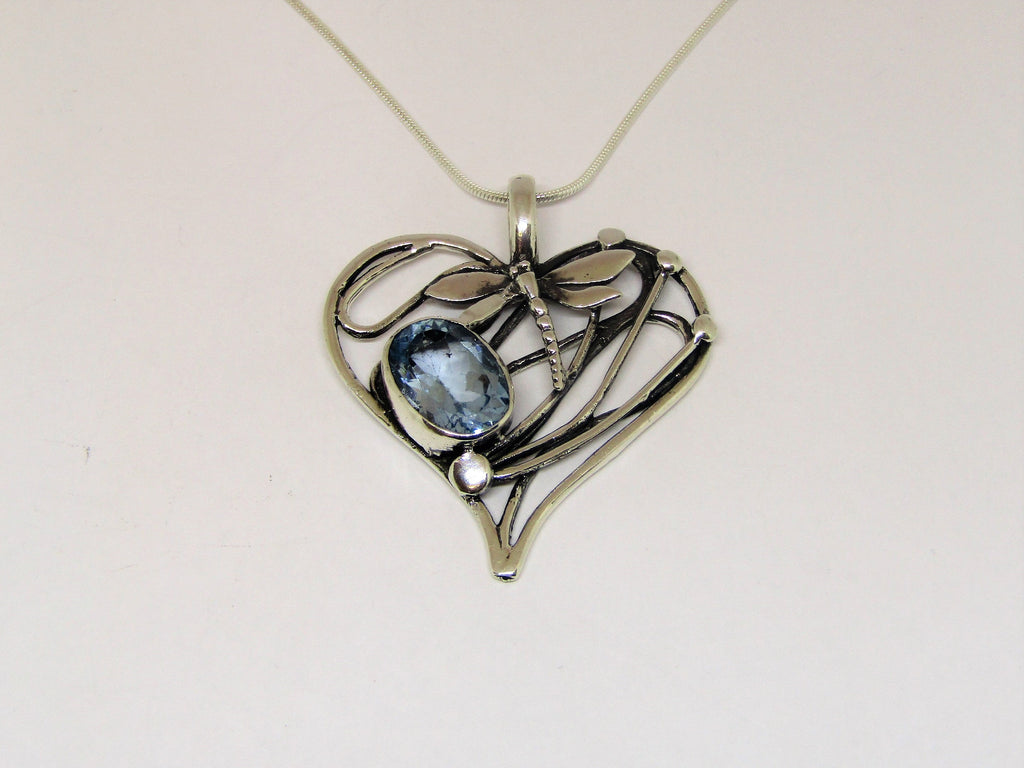 Heart Dragonfly Pendant in Sterling Silver with Blue Topaz by Madeleine Blaine