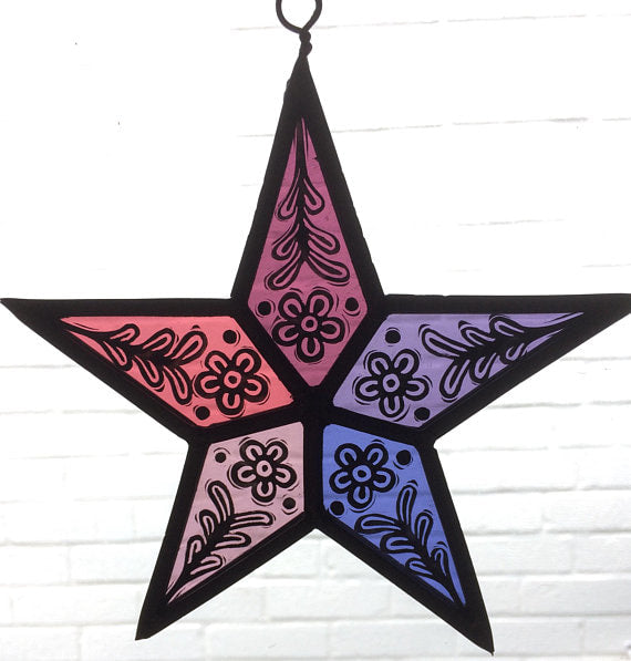 stained glass pink star by Annette Jackson
