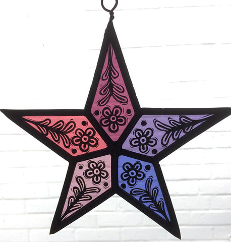 Stained Glass Pink Star