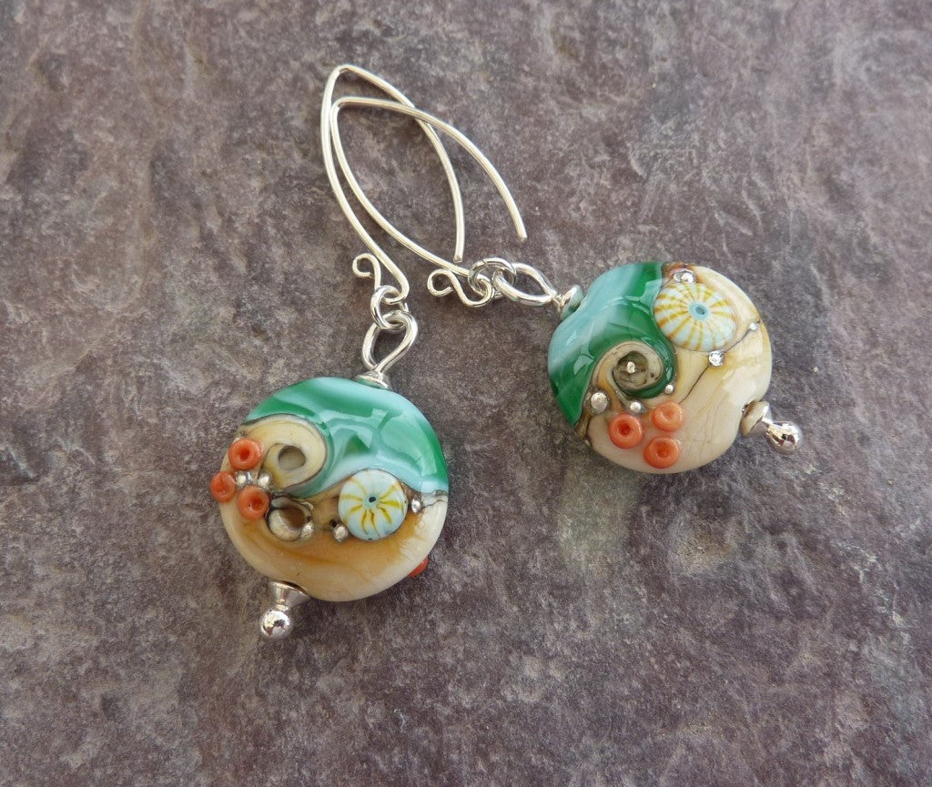 Sea View Sand and Sea Earrings by Julie Fountain