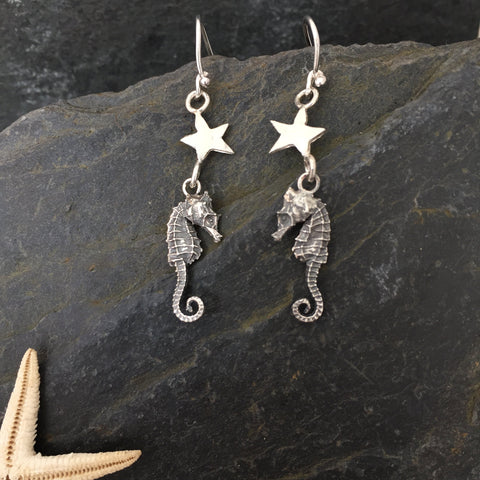 Seahorse Star Earrings - Sterling Silver Hand-Crafted by Jesa Marshall
