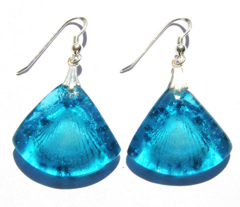 Triangular Glass Shell Drop Earrings