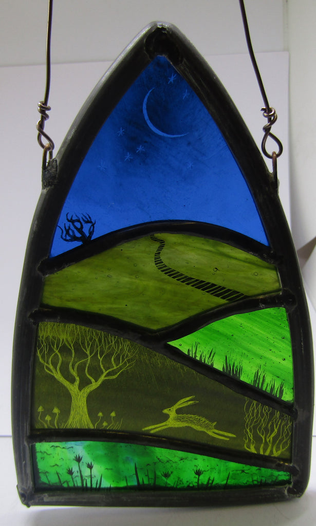 Sgraffito Hare Landscape - Glass by Debra Eden