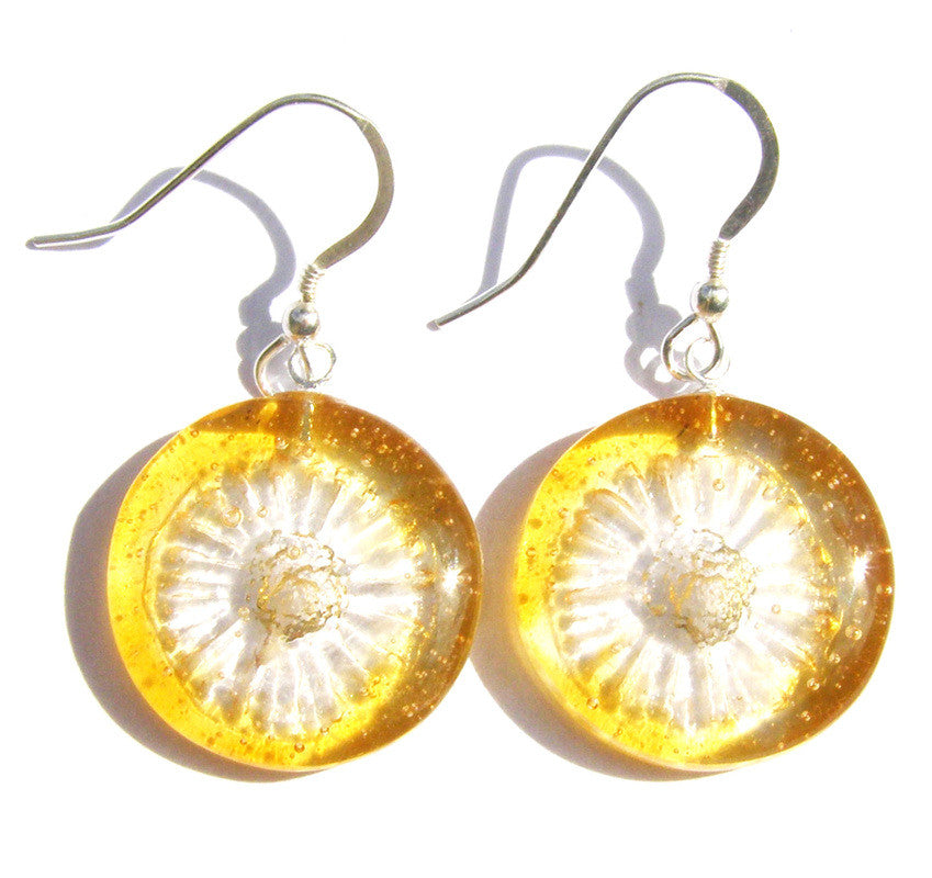 Glass Yellow Daisy Round Drop Sterling Silver Earrings by Connell & Hart