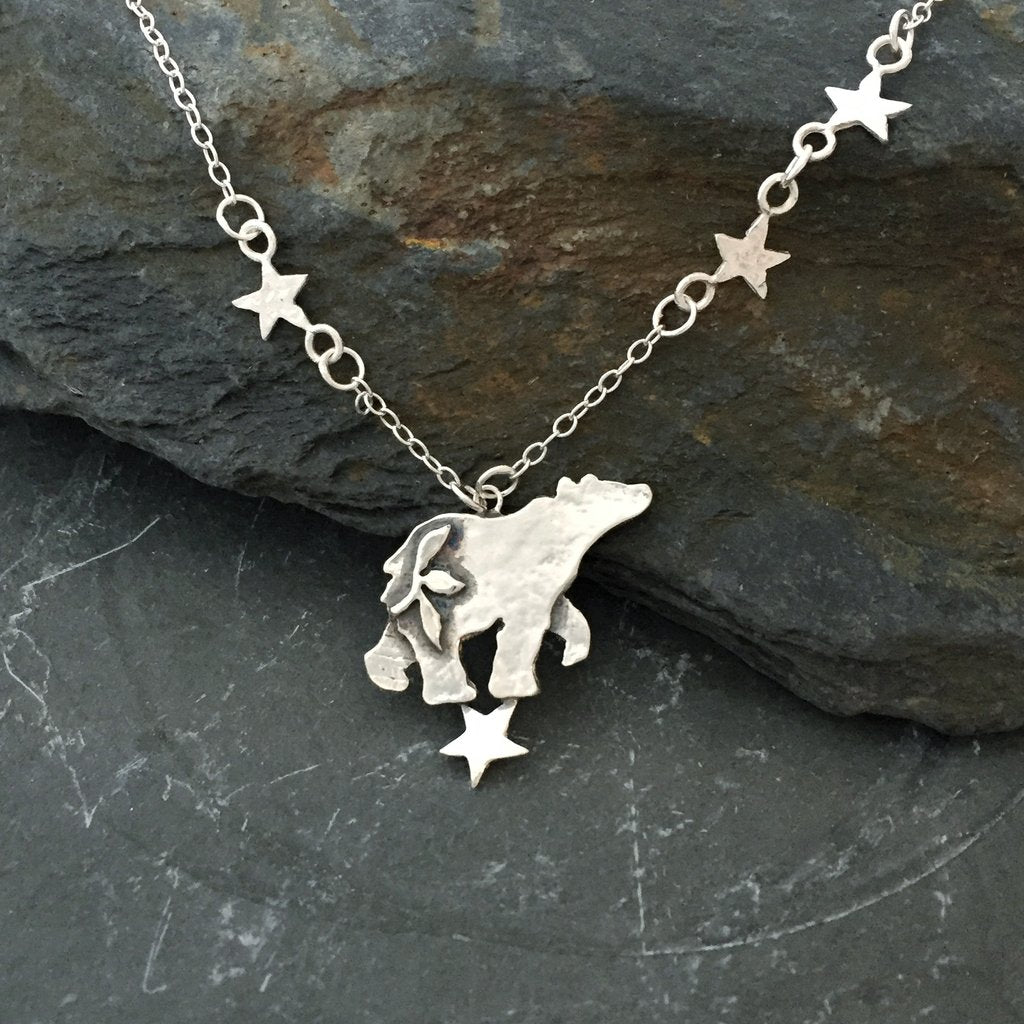 Star Gazing Wandering Bear Stirling Silver Necklace by Jesa Marshall