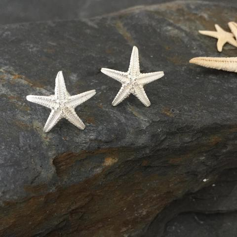 Starfish Stud Earrings - Sterling Silver Hand-Crafted by Jesa Marshall