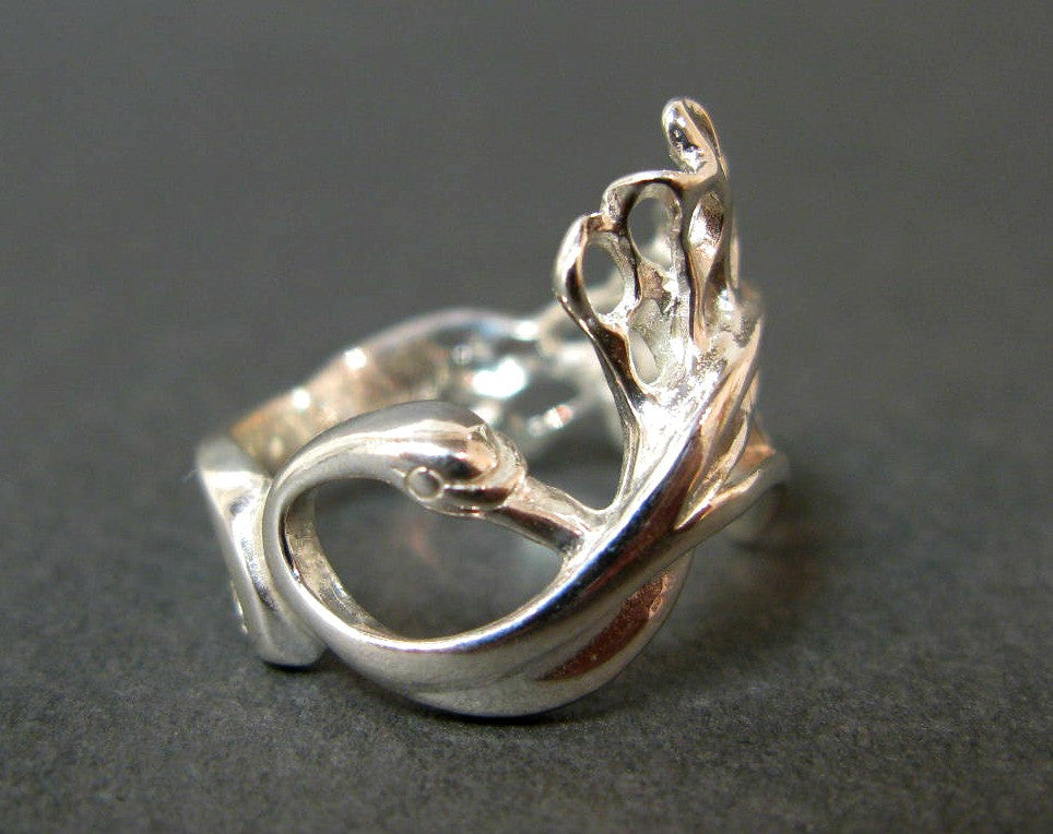 Single Swan Small Ring - Sterling Silver Jewellery by Elena Brennan