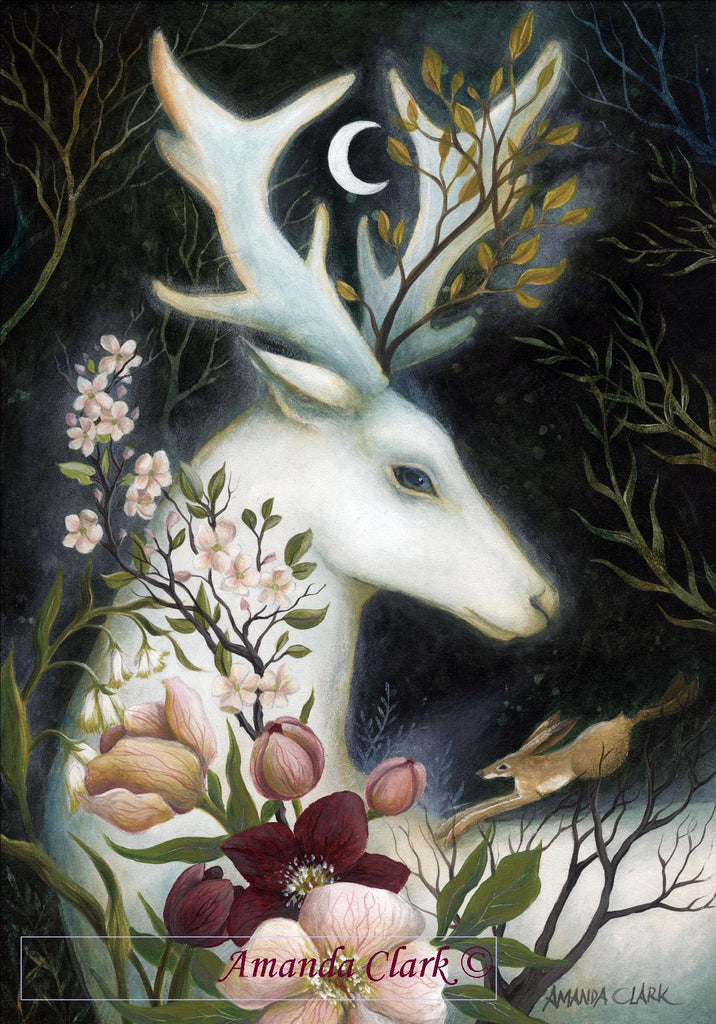 The White Stag & Hare - framed original acrylic painting by Amanda Clark