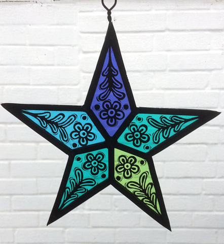 Stained Glass Turquoise Star