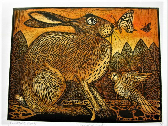 Woodcut of the Unexpected Guest by Ian MacCulloch
