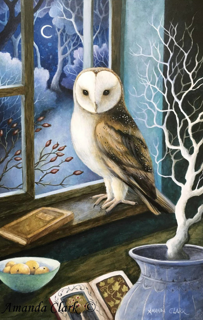 Visitor at my Window - framed original acrylic painting by Amanda Clark